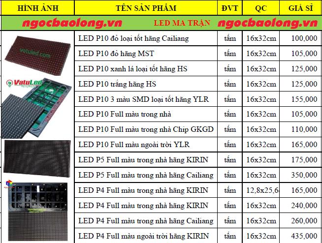 bảng giá led ma trận p10 1 màu